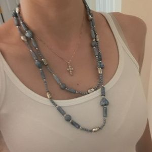 Light blue beaded necklace